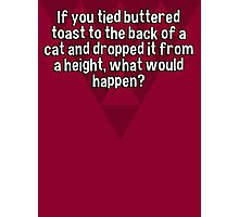 If you tied buttered toast to the back of a cat and dropped it from a height' what would happen? Photographic Print