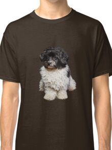 Cute Black And White Havanese Dog Painting Classic T-Shirt