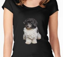 Cute Black And White Havanese Dog Painting Women's Fitted Scoop T-Shirt