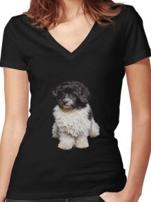 Cute Black And White Havanese Dog Painting Women's Fitted V-Neck T-Shirt