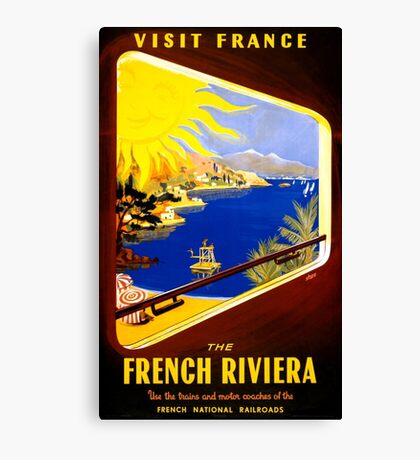 France Vintage Travel Poster Restored Canvas Print