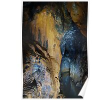 Underground mine with stalactites and minerals Poster