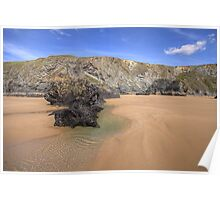 Bedruthan Rocks and Sand Poster