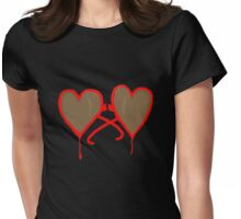 Broken Heart Shaped Glasses Womens Fitted T-Shirt