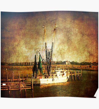 Old shrimp boat in Charleston Poster