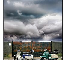 No Parking! Two classic Lambretta Scooters by Mal Bray