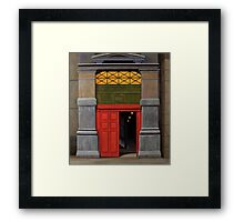 Behind the Red Door, Oil on Linen, 101x91cm Framed Print