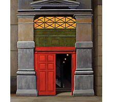 Behind the Red Door, Oil on Linen, 101x91cm Photographic Print