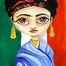 Frida Kahlo watercolour folk art painting by gordonbruce