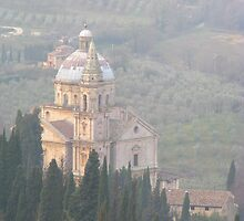 Montepulciano - Church in the mist by Maureen Keogh