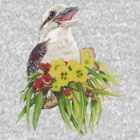 Kinta the Kookaburra, Gum blossom & leaves by heatherjoy
