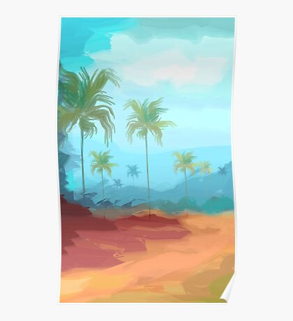 Digital painting of coconut trees Poster
