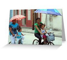 Umbrellas and Bicycles Greeting Card