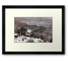 Brown brushstrokes on white Framed Print