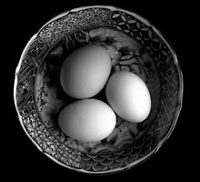 Still Life with Eggs in Black & White by Kitsmumma