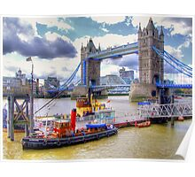 Steam Tug 'Barking' on the Thames at Tower Bridge - HDR Poster