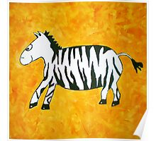 Black and White Striped Handpainted Zebra on Orange Yellow Background Poster
