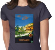 France Normandy Vintage Travel Poster Restored Womens Fitted T-Shirt
