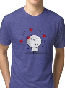 Playing with red hearts Tri-blend T-Shirt