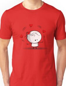 Playing with red hearts Unisex T-Shirt