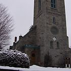 A church on a snowy day in Brandon, Vermont by Peggy Burch