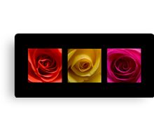 Triptych Orange Yellow & Pink Roses Canvas Print