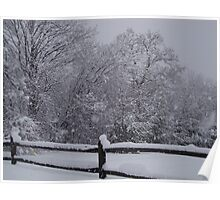 A split rail fence on a snowy day Poster