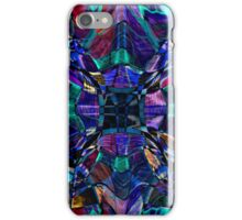 blue stained glass fractal pattern iPhone Case/Skin