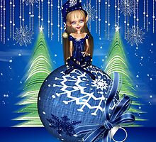 Christmas Card Elf Sat On A Holiday Bauble by Moonlake