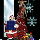 Christmas Card With Santa And Reindeer by Moonlake