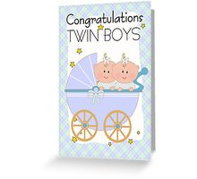 Twin Boys Congratulations Card  Greeting Card