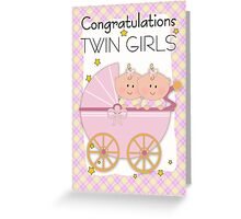 Twin Girls Congratulations Card Greeting Card