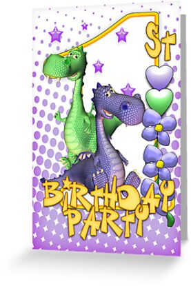 1st Birthday Party Invitation Card Cute Dragons by Moonlake