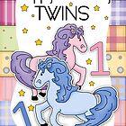 Twins 1st Birthday Card - Happy Birthday Twins by Moonlake