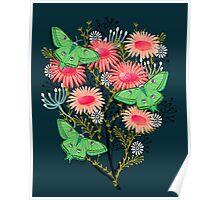 Luna Moth Florals by Andrea Lauren Poster