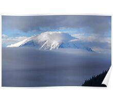 Mt Rainier between the clouds Poster