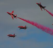 Red Arrows at Dunsfold Air Show by Kat Simmons
