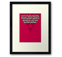 Isn't it funny how the mood can be ruined so quickly by just one busted condom. Framed Print