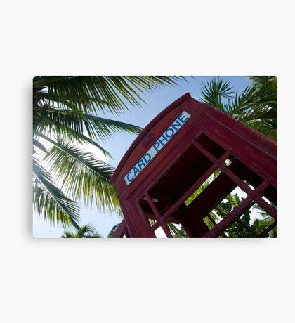 Caribbean telephone box Canvas Print