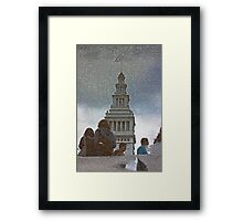 San Francisco Ferry Building Reflection in a Puddle Framed Print