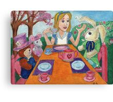 Tea Time with Alice in Wonderland Canvas Print