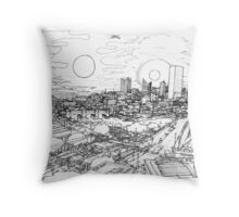 An illustrated abstraction of Boston Throw Pillow