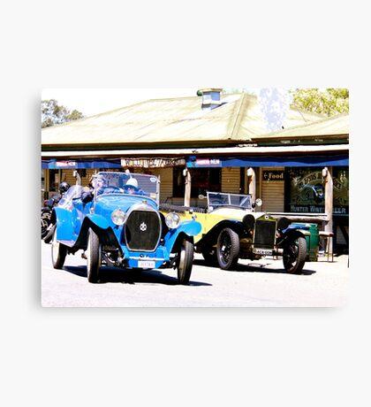 Vintage cars outside Wollombi Tavern Canvas Print