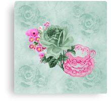 Green & pink Vintage Teacup & Flowers Canvas Print