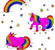 Pink Unicorns with rainbow and stars Hurrah! by LauraLeeDesigns
