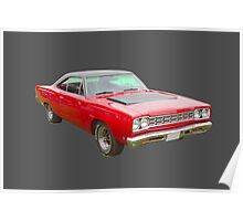 Red 1968 Plymouth Roadrunner Muscle Car Poster