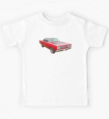 Red 1968 Plymouth Roadrunner Muscle Car Kids Tee