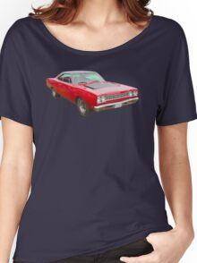 Red 1968 Plymouth Roadrunner Muscle Car Women's Relaxed Fit T-Shirt