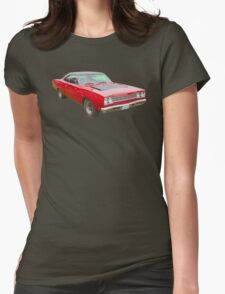 Red 1968 Plymouth Roadrunner Muscle Car Womens Fitted T-Shirt