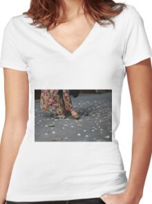 flower collector  Women's Fitted V-Neck T-Shirt